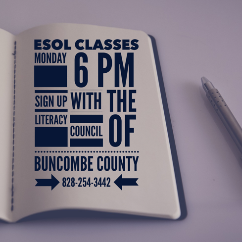 Weekly ESOL (English to Speakers of Other Languages) classes taught at FBCW, Mondays at 6:00. Sign up through the Buncombe County Literacy Council (828) 254-3442.