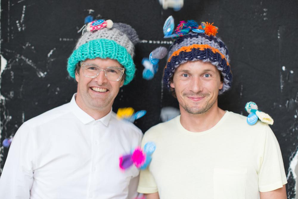 Oliver Tress (Founder of Oliver Bonas) and Richard Reed (Founder of Innocent) modelling the range