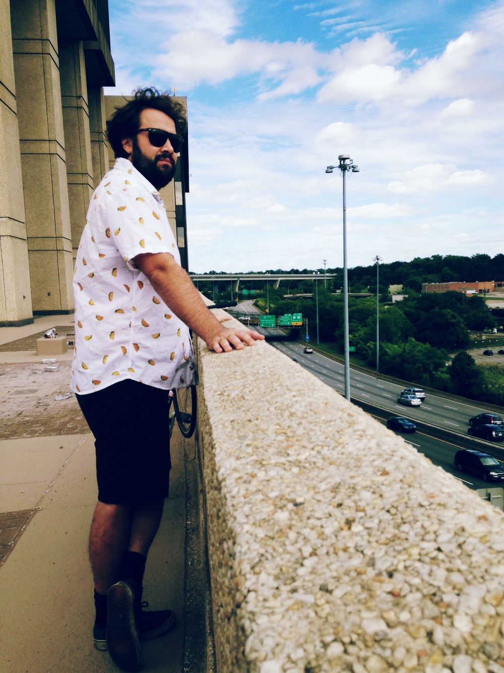 Jd overlooking Richmond in a taco shirt