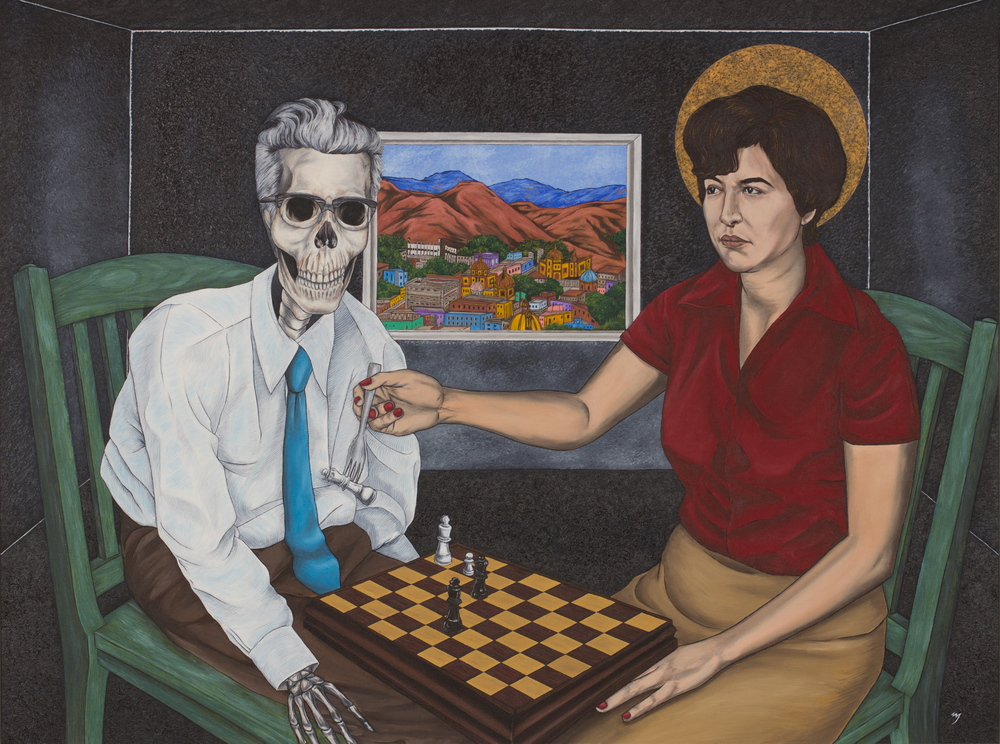 """Ajedrez / Chess."" Oil on Canvas. 30"" x 40"" (2009) ""The basic imagery of 'Ajedrez' comes from a dream I had when I was young. In it, I saw my grandfather as a muerto, a 'dead one,' being fed by my aunt. In the painting, however, it is my mother sitting at a chess table—he loved to play chess—feeding him his own 'queen,' representing the feminine. A window in the room looks out on his beautiful hometown of Guanajuato in colonial Mexico. ""My grandfather was an educated man in Mexico, having studied philosophy in the university, but was forced to leave during the bloody Mexican revolution. In the United States of the early-to-mid 20th-century, he could only find work in a factory and lived a somewhat dingy existence, somehow made worse by the knowledge of a world of grandeur within him. ""Though he was an incredible man—almost legendary in my family—he was a poor father who could not manage to give his daughters the affection they needed. Thus, the painting ultimately depicts the victory of his daughters over him, feeding him his own queen. That is to say, they all became women of courage and substance who made good lives for their families. ""The interesting part of the dream was that, although I had seen Dia de los Muertos, 'Day of the Dead' imagery as a child in Mexico, I was not aware of the holiday itself or the custom of 'feeding the dead' when I had the dream. And yet, the dream's imagery was exactly in accord with the traditional beliefs!"" — Netanel Miles-Yépez"