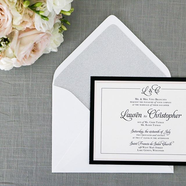 Congratulations Lauren & Chris! I love this suite- glitter envelope liner, watercolor flower details on the enclosure cards and a sophisticated color palette! I was also lucky enough to be a bridesmaid for this fabulous wedding! ❤️ love you two! #invitationdesign #weddinginvitations #weddingstationery #tatswedding #jcsinvites #lakegenevabride #paperlove #bride #wedding