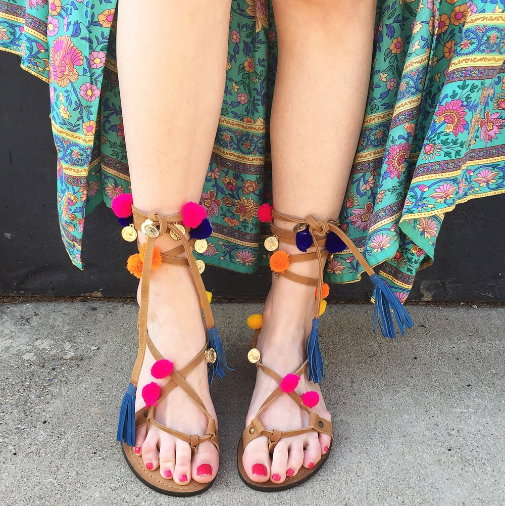 Brittnee Lingo, Dallas - Pom Pom Medallion Gladiator by Z&L Why do you love this shoe? BL: It's so fun and easy to style! The pops of color make me happy, plus they're comfy so I can wear them all Summer long! What is your favorite thing about Summer? BL: Summer is my favorite time of year. I get to bask in the sun, be in or near water 95% of the time, and it usually means VACATION! What's not to love?