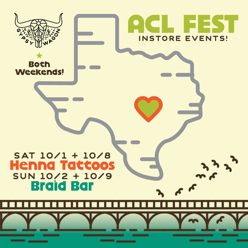 Let our Austin store make your ACL Festival looks seamless this year. From braid bars & henna (Saturdays & Sundays 12-2), to endless festival clothing options, recovery cocktails, and pop-up shops from ATX local artisans. Yellow Elephant Clothing & Aileen Fitz Prints will be popping up in store both weekends, and Daisy Natives will be in store for weekend two!