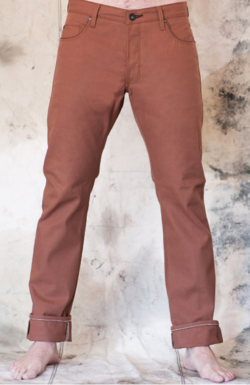 "Country clubs? You just like the country. Vacation in the Hamptons? More like Houston. ""Take Ivy""? You'd rather leave it. So when it comes to the terra-cotta hued pant–a preppy staple–you've normally steered clear. Until today.  4 Stroke  presents the Warsaw Selvage Jean in an inviting, burnt-orange color. Pairing this punch-packing color with a straight-leg cut and just the right amount of down-home sensibility, 4 Stroke creates a powerful hybrid that will fill the hole in any denim wardrobe. There's nothing pretentious about this jean… but that doesn't mean you won't feel a cut above when wearing them. Get them  here ."