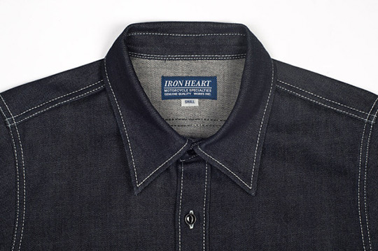 For those of you who wake up every morning and check your bookmarked list of denim blogs before heading to get dressed in front of your raws-stocked closet, it may seem like you've mastered this particular frontier and that it's time to find a new obsession. But wait– have you given the raw denim shirt a try? This one by  Iron Heart  is nothing if not sturdy-looking, and may just be the next step for your love of all things selvage. We're not sure what item of clothing will be the next venue for a raw-breakthrough… we just hope it isn't socks. Seriously, some things ought to just be comfy at all times. But until that day, we'll just get our denim kicks with this rad shit, thank you very much. Get it  here .