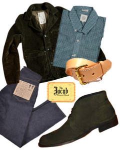 With the thought of Fin's Jacob Desert Boot in mind (and in light of  their question  to Rye & Rivet about what to pair it with), we threw together a quick outfit that's both perfect for fall and suits the boot.   Jacket: Billy Reid's  Quail Jacket in Olive Corduroy    Shirt: Taylor Stitch's  Button Down in Green/Navy Mini-Gingham    Belt: Tanner Goods'  Heritage Belt in Natural/White    Jeans: Quality Mending Co.'s  Highrider    Boots:  Fin's Jacob Desert Boot in Olive    Thanks again to Fin's for featuring Rye & Rivet as one of their favorite bloggers! As for the styling: Yea or Nay? Would you wear it?