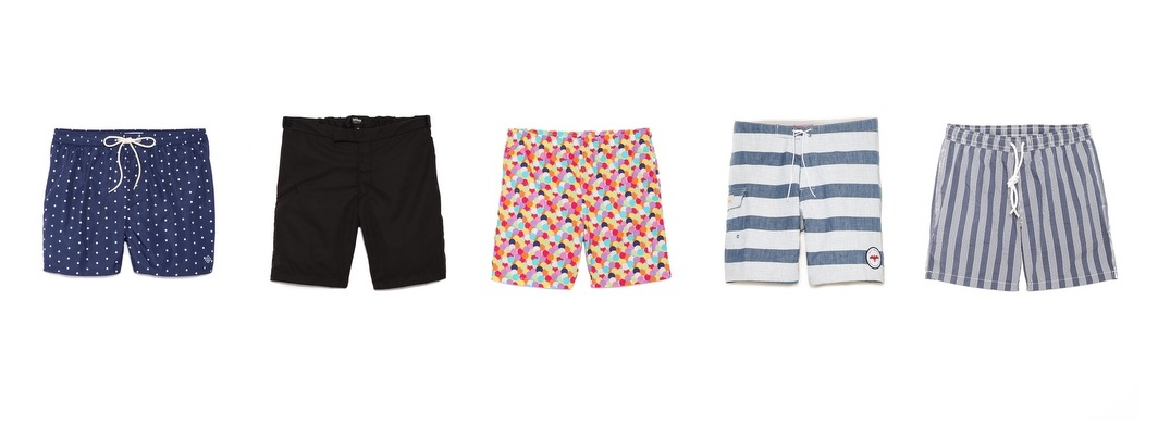 "SUMMER STOCK-UP #1: SWIM SHORTS    G rabbed your ""summer clothes"" bin out of the back of your closet only to find a bunch of neatly-folded letdowns? You're in luck: we're introducing a new feature for the warm-weather months, aptly named ""Summer Stock-Up"". In each post you'll find five variations on a summer essential—perfect for refreshing your closet (and avoiding future disappointments).         Gant Rugger's Polka Dot Swim Trunks     If you're going to bite the bullet and don some shorter-than-absolutely-necessary trunks, it's best to balance it out with a classic, unassuming pattern. Timeless navy with white polka dots not only has a subtly vintage vibe, it also kinda reminds us of a nice pair of pajamas. Which reminds us: put on some sunscreen before you fall asleep in the sand. Get them  here .     Baldwin Denim's B Board Shorts     Who better to trust when it comes to fit than a stellar denim brand? Baldwin's no-fuss shorts have the perfect length to keep a low profile, for those of you who want to move quietly from beach to boardwalk (for instance: spies). Get them  here .     Richard James' Classic Swim Shorts In Multi-Spots     On the opposite end of the spectrum: shorts louder than that overly-authoritative lifeguard you hate (What, no alcohol on the beach? Since when?). Would we suggest this pattern for day-to-day wear? No. But every beachgoer needs one crazy pair of shorts in his arsenal. Just don't set your Dippin' Dots down on your lap—you'll never find them again. Get them  here .     Apolis' Striped Chambray Swim Trunks     Something you've never seen before? Coated chambray. These clever Apolis trunks make use of our favorite lightweight summer fabric with a waterproofing twist. Plus, the concealed bungee is an idiot-proof way to not lose your keys, whether you're surfing or getting buried in the sand up to your neck. (Hey, we said the shorts were smart, not the guy wearing 'em). Get them  here .     Hartford's Seersucker Stripe Swim Trunks     Seersucker is usually semi-tricky territory (""How do I wear this vest without looking like Colonel Sanders?""), but this swim trunk incarnation makes it easy. Lucky for all of us, The Colonel wouldn't be caught dead in these (aaargh, can't un-see). Get them  here ."