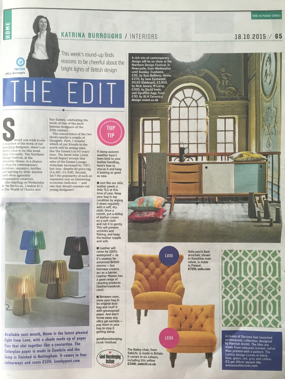 f4a19a2ba7b1e Katrina Burroughs  round up  The Edit  in The Sunday Times Home is the  first piece of press for Lane s table lamp Beam