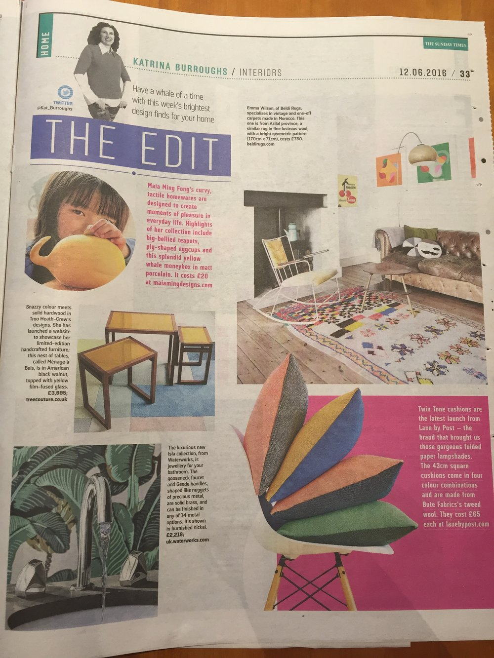 Sunday Times Home, June 2016,  Lane Twin Tone Cushions