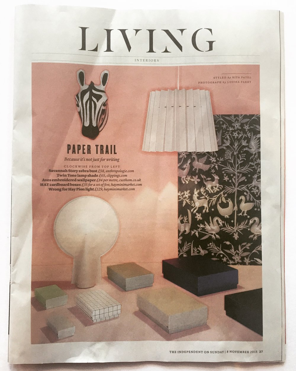 The Independent, November 2015,  Lane & Little Greene Twin Tone Lampshade -Light Peachblossom & Carmine