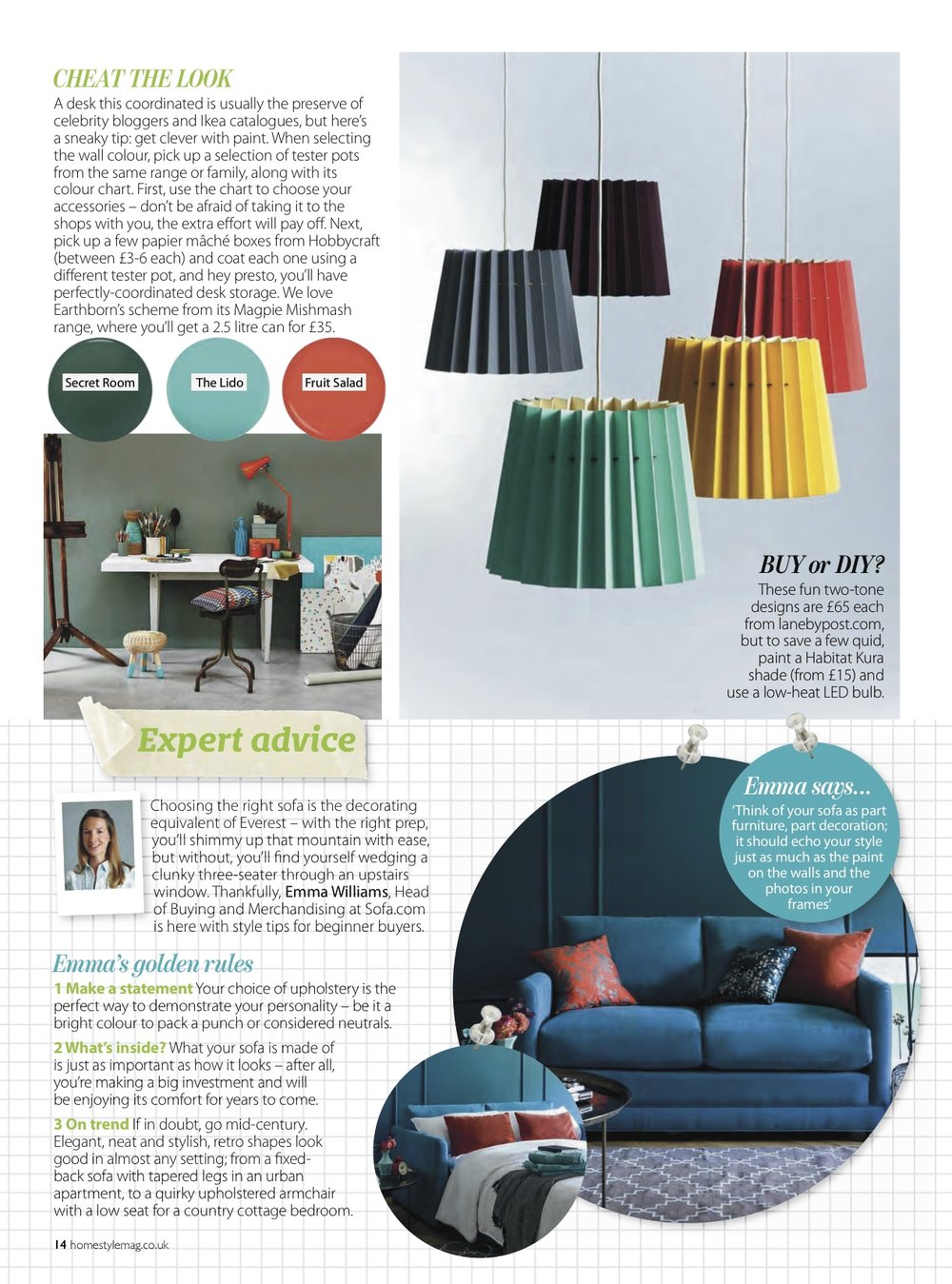 Home Style, September 2015,  Lane Twin Tone Lampshades