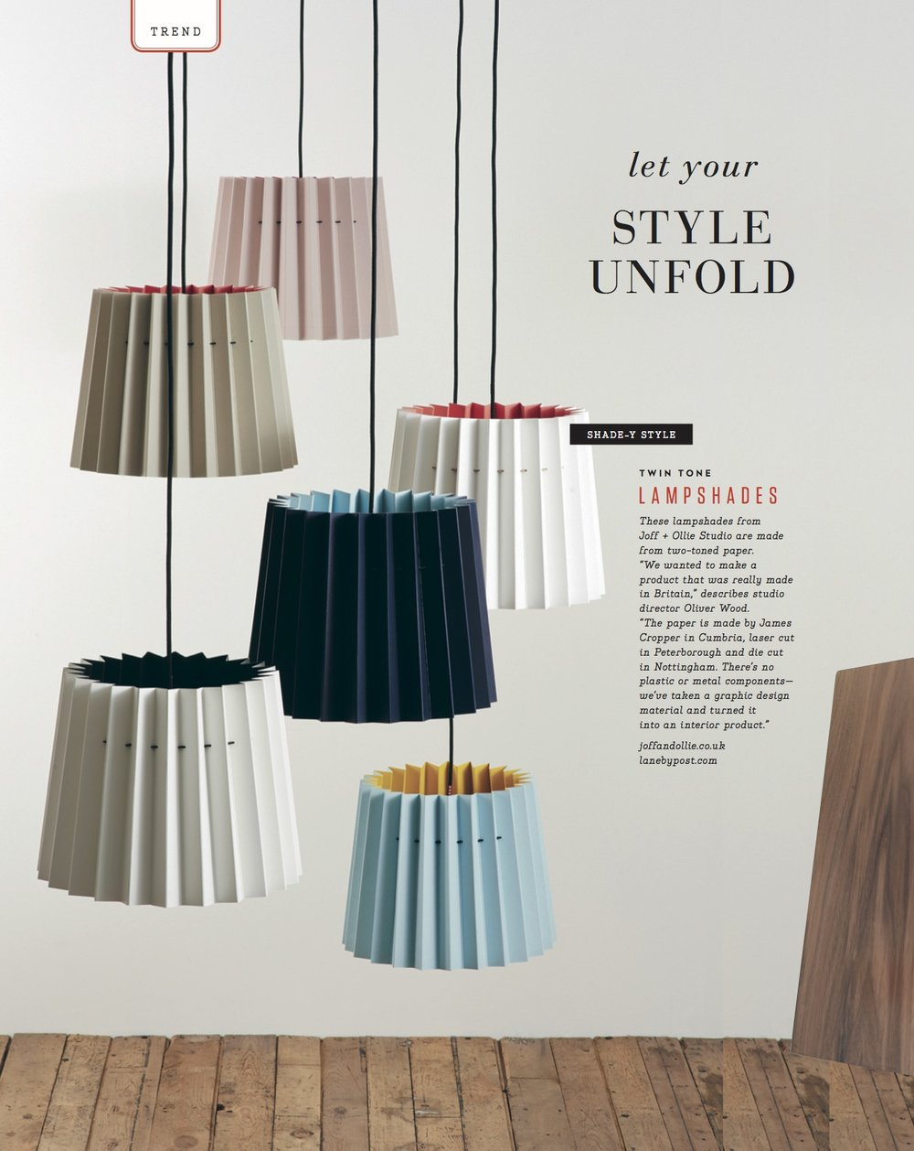 Uppercase Magazine, April 2016,  Lane & Little Greene Twin Tone Lampshades