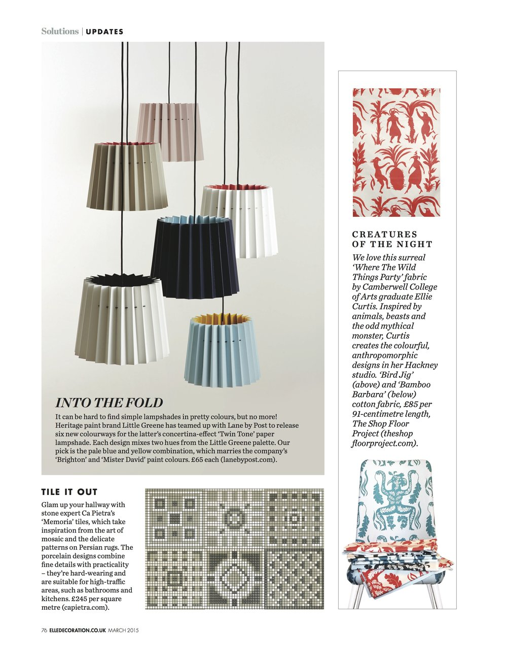 Elle Decoration, March 2015,  Lane & Little Greene Twin Tone Lampshades