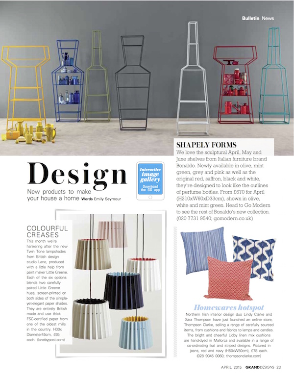 Grand Designs, April 2015,  Lane & Little Greene Twin Tone Lampshades
