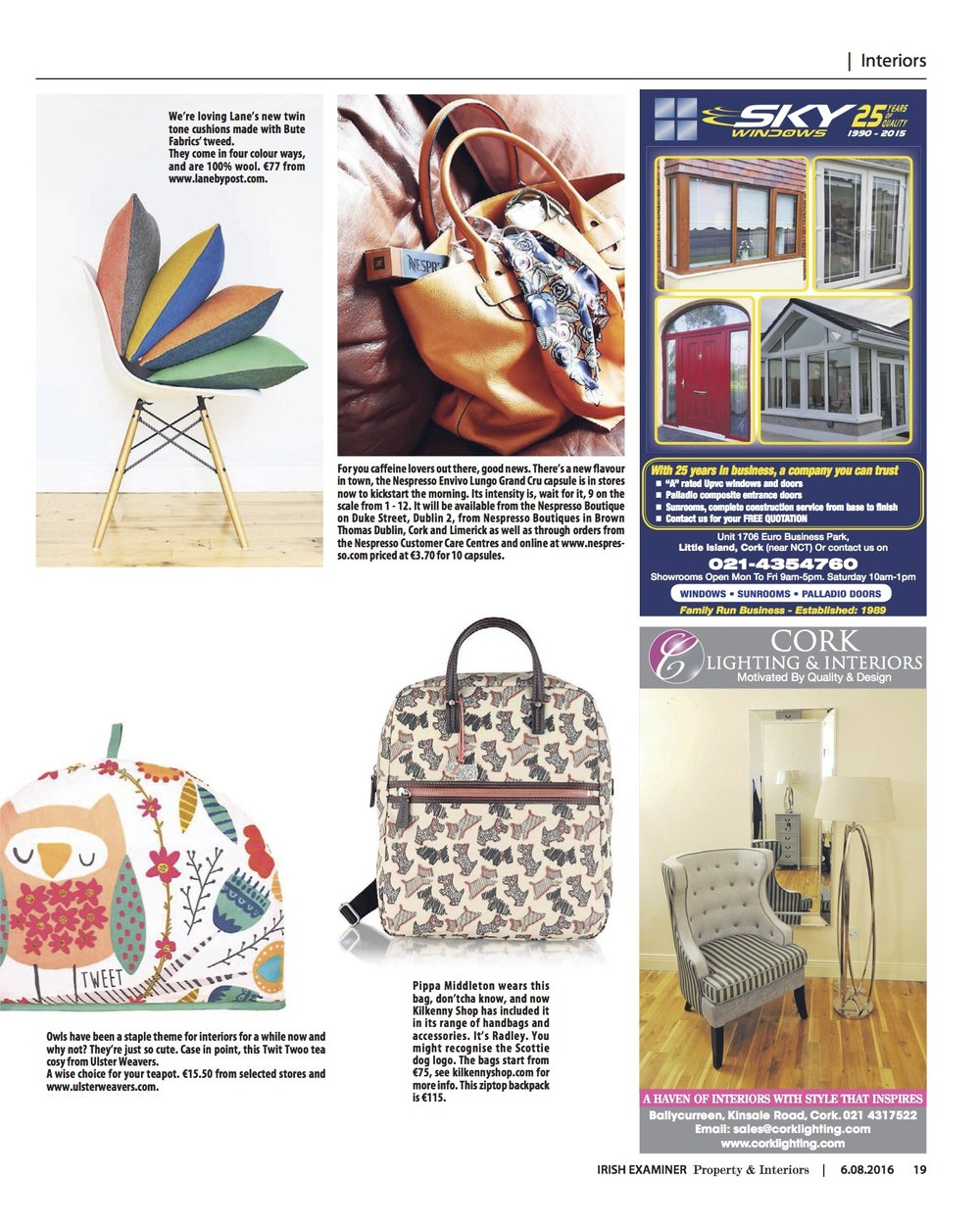 The Irish Examiner, August 2016,  Lane Twin Tone Cushions