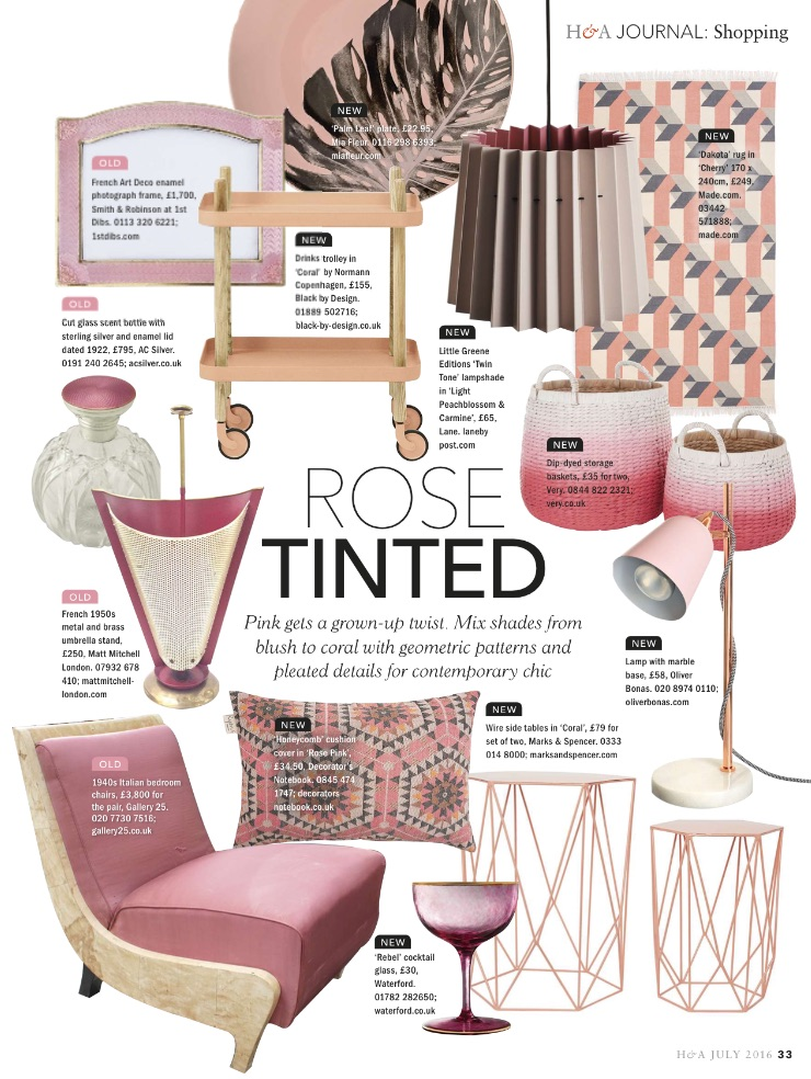 Homes & Antiques, June 2016,  Lane Twin Tone Lampshade - Light Peachblossom & Carmine