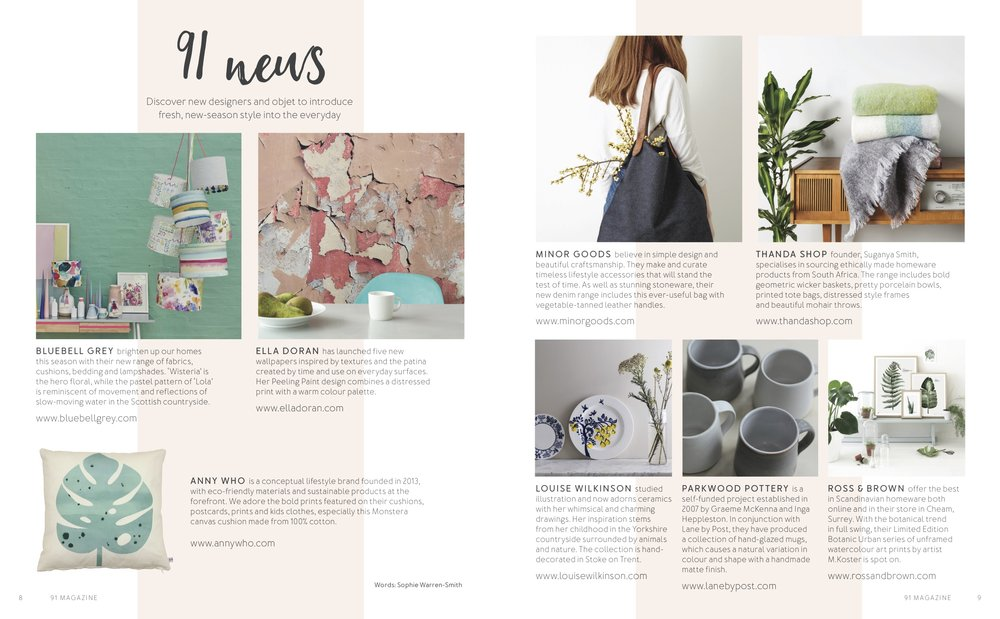 91 Magazine, May 2016,  Lane & Parkwood Pottery stoneware mugs