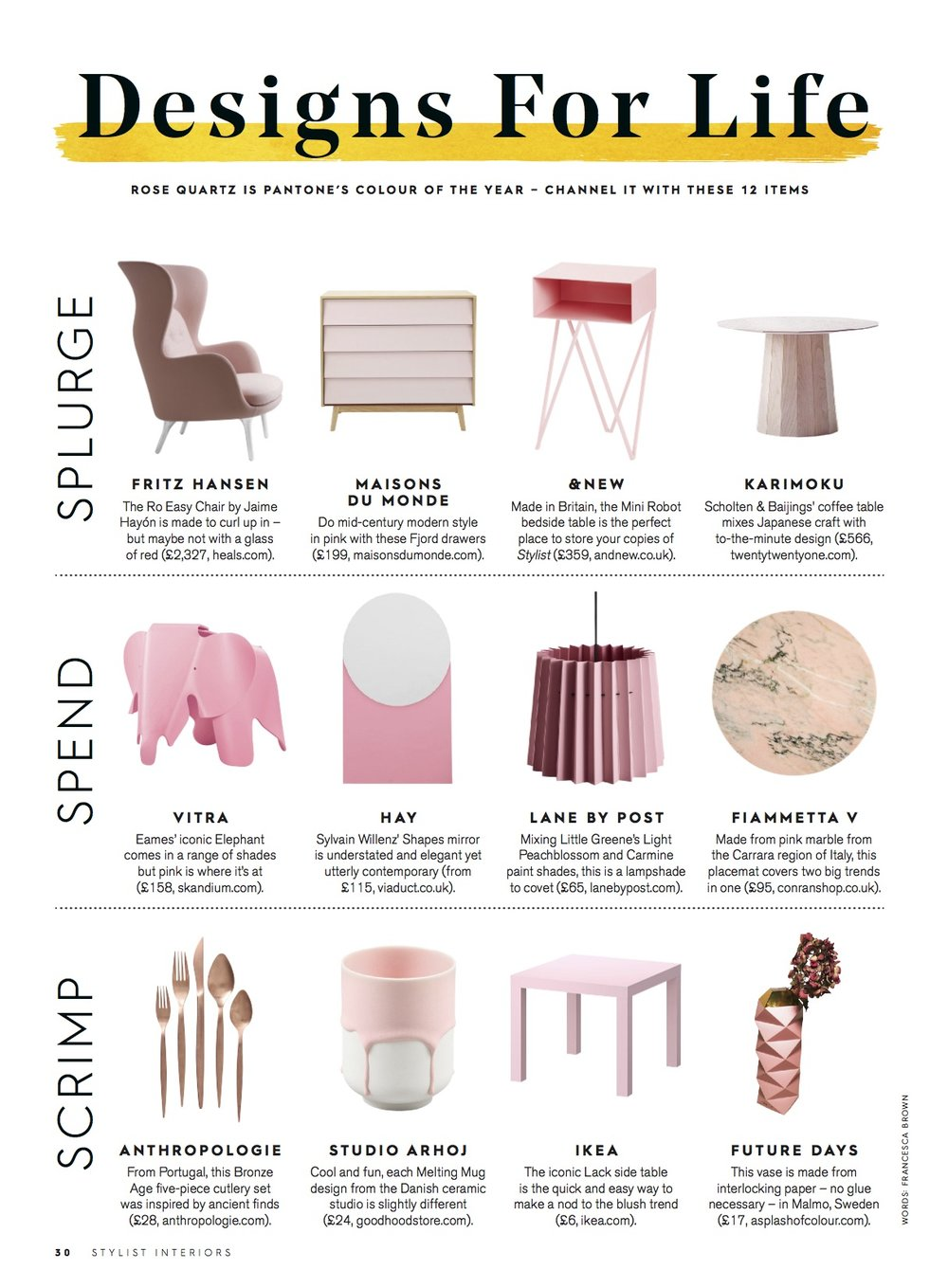 Stylist Magazine, April 2016,  Lane & Little Greene Twin Tone Lampshade - Light Peachblossom & Carmine