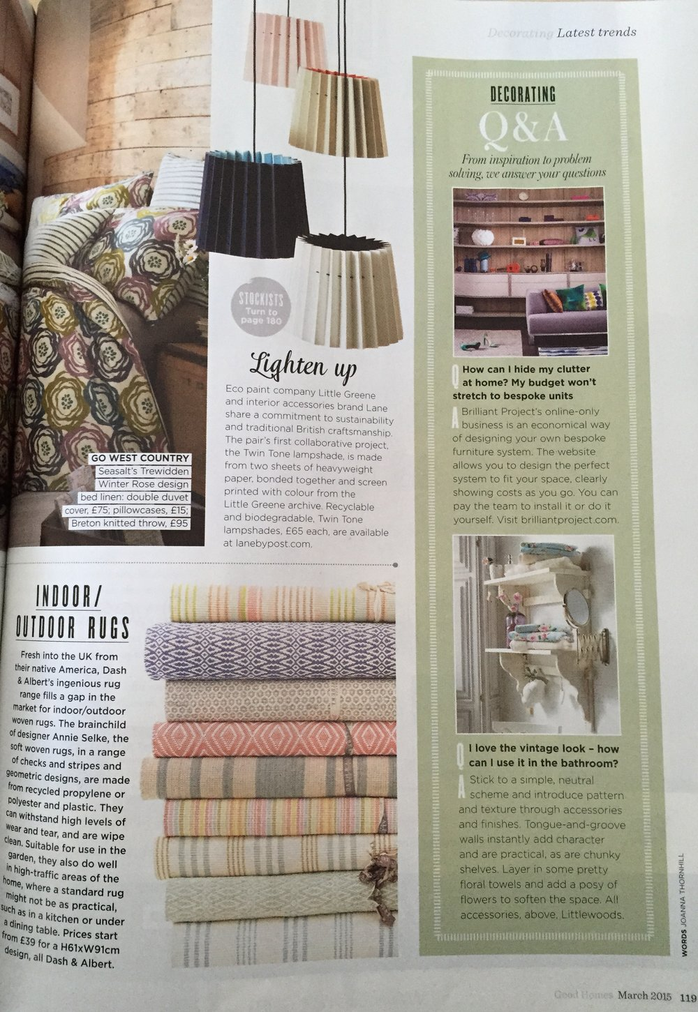 Good Homes, March 2015,  Lane & Little Greene Twin Tone Lampshades
