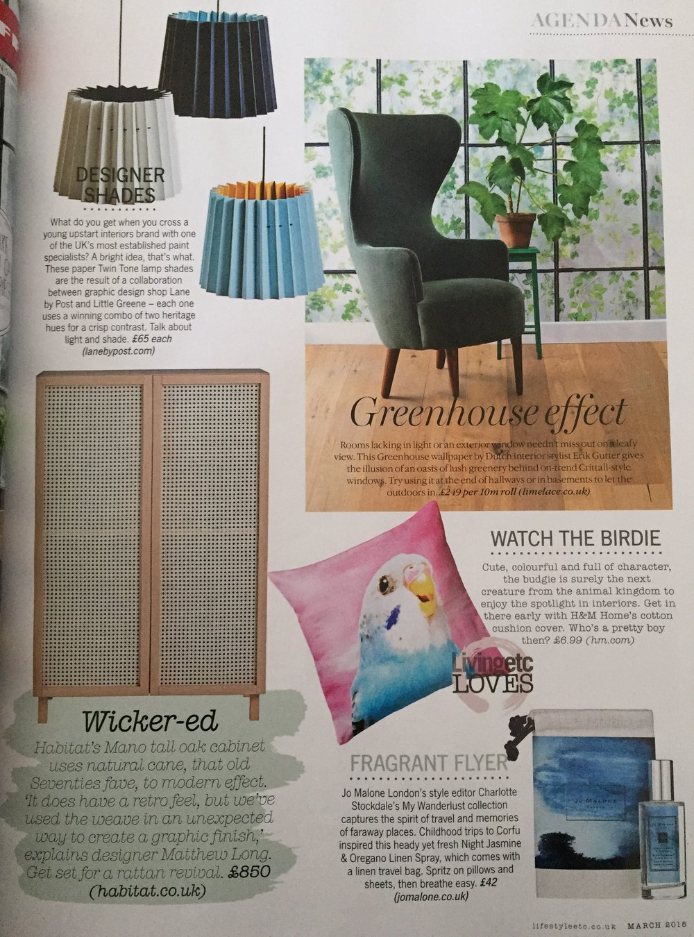 Living Etc, March 2015,  Lane & Little Greene Twin Tone Lampshades