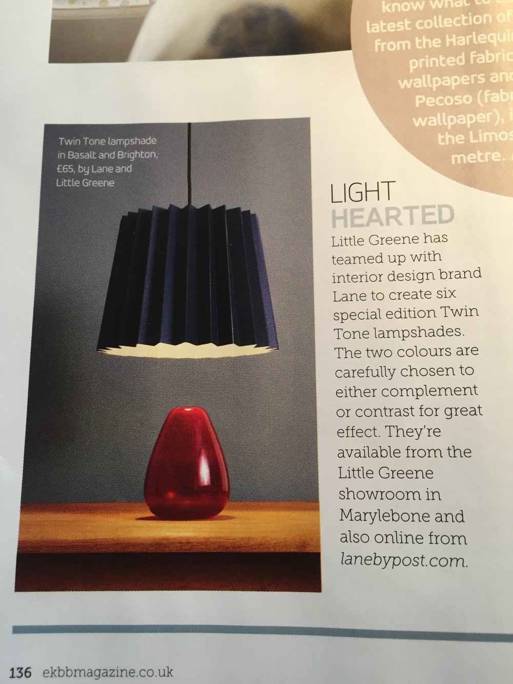 Essential Kitchens, Bedroom, Bathrooms, March 2015,   Lane & Little Greene Twin Tone Lampshade  - Brighton & Mr David