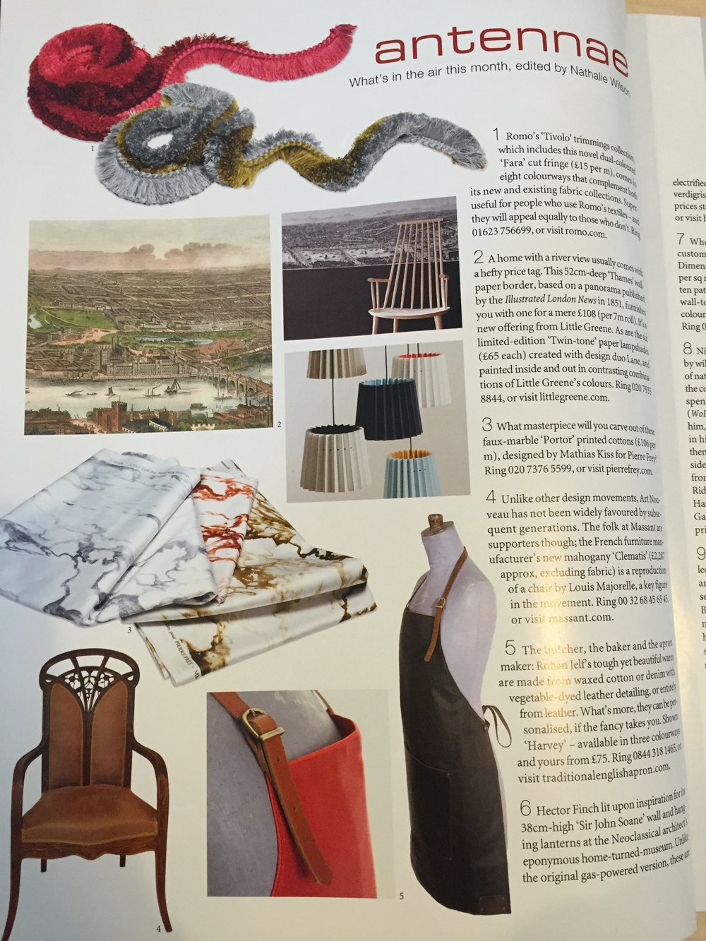 World of Interiors, February 2015,   Lane & Little Greene Twin Tone Lampshades