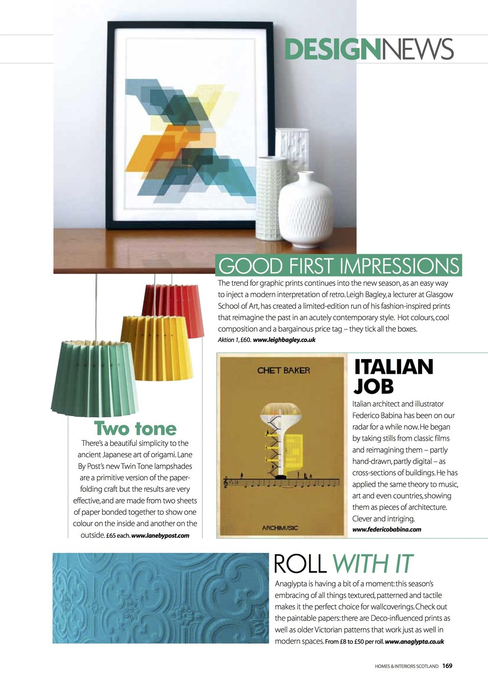 Homes & Interiors Scotland, September 2014,  Lane Twin Tone Lampshades