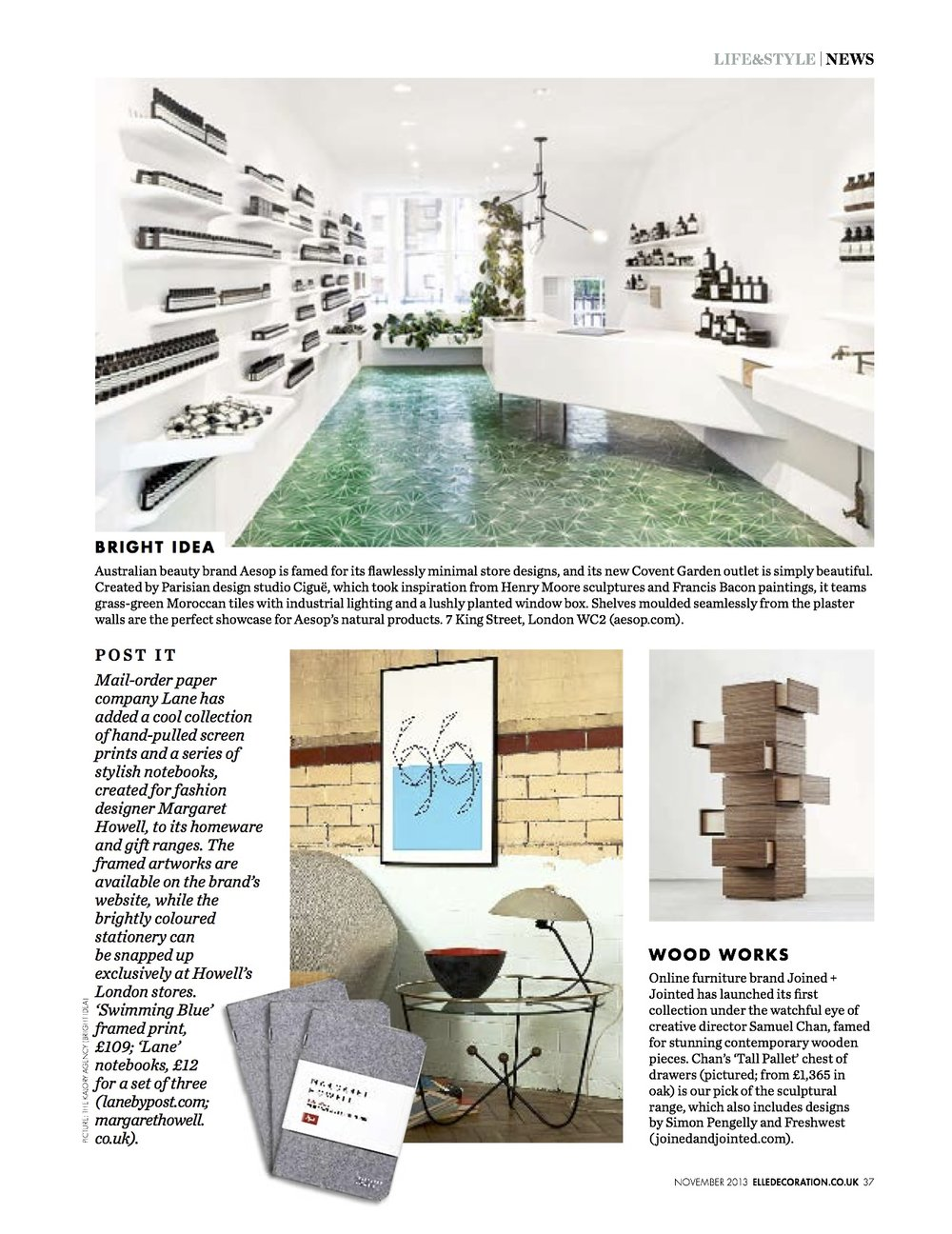 Elle Decoration, December 2013, Swimming Blue screen print