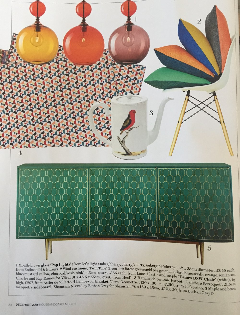 House & Gardens, December 2016,  Lane Twin Tone Cushions