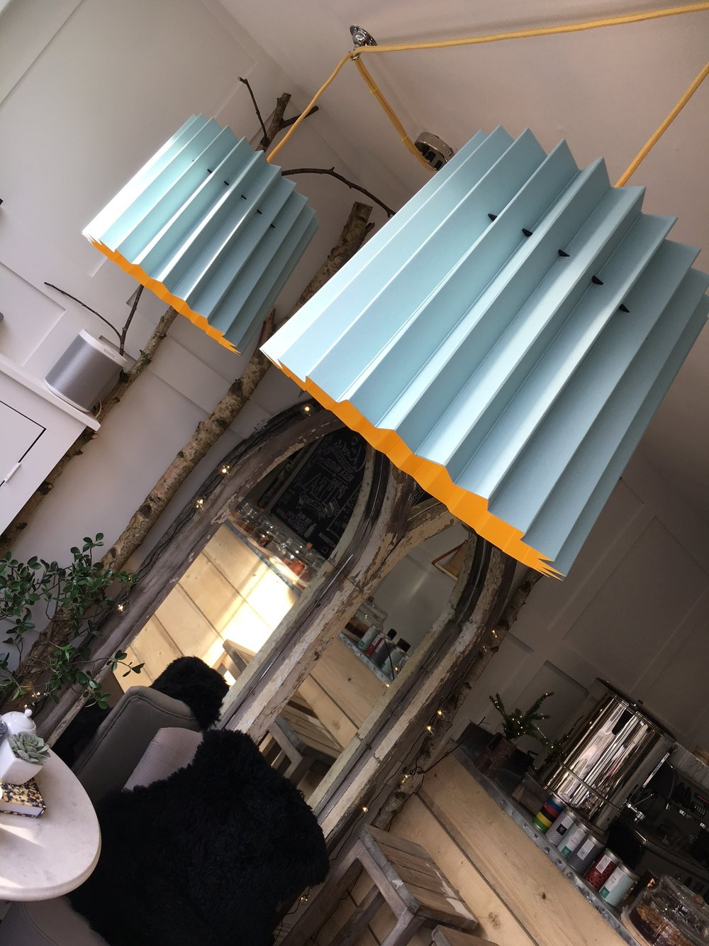 Lane Twin Tone Lampshades in Fika cafe, Oakham
