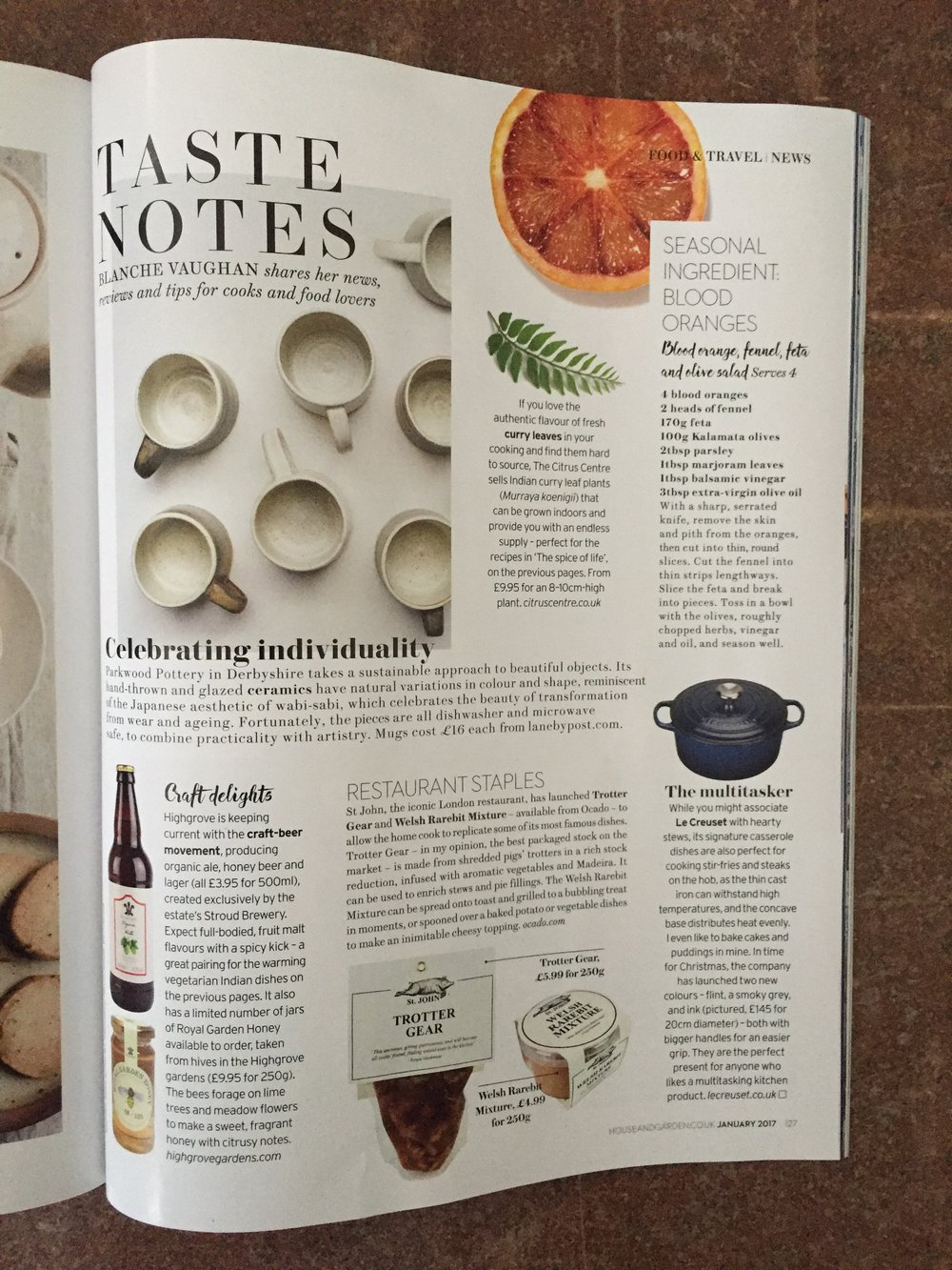 House & Gardens, January 2017,    Lane & Parkwood Pottery Stoneware Mugs