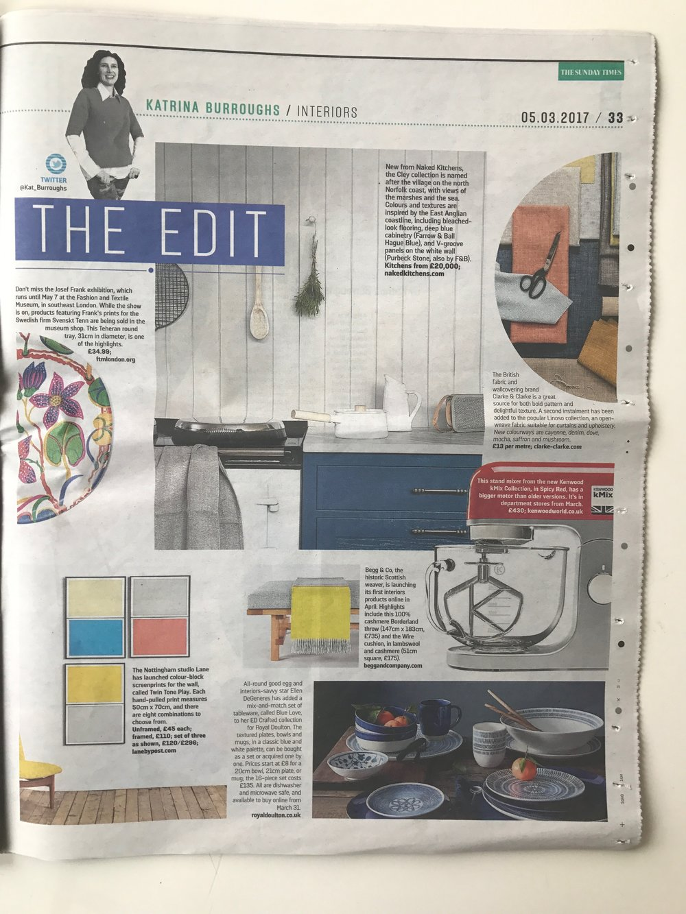 Sunday Times Home, 5th March 2017, 'Twin Tone Play' Hand Pulled Screen Prints