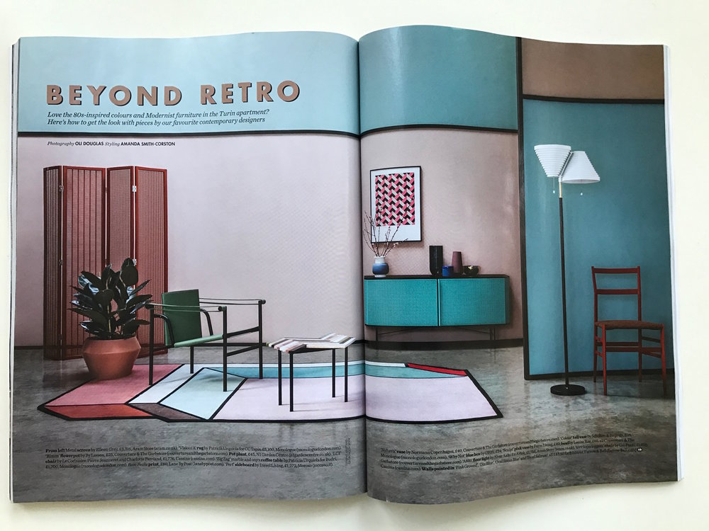 Elle Decoration, 'Beyond Retro' shoot by Amanda Smith-Corston, May 2017,  'Rose Peaks' Hand Pulled Screen Print