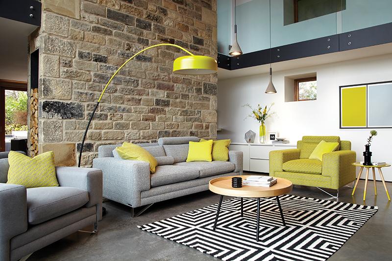 Duresta's 'Metropolitan Compact Sofa, Chair and Reading Chair'  and Lane's  'Yuzu Yellow & Drift Blue Twin Tone Play Screen Print'