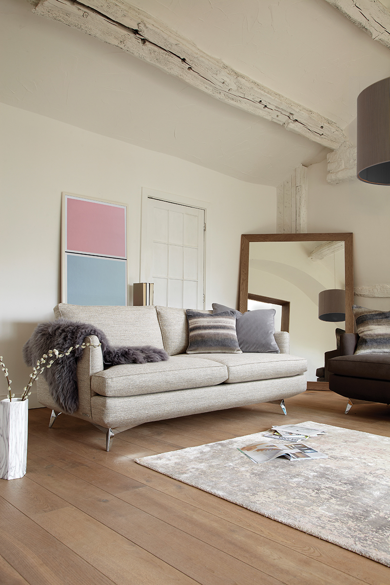 Duresta's 'Meridian Compact Sofa' and Lane's 'Granite Pink & Drift Blue' Twin Tone Play Screen Print