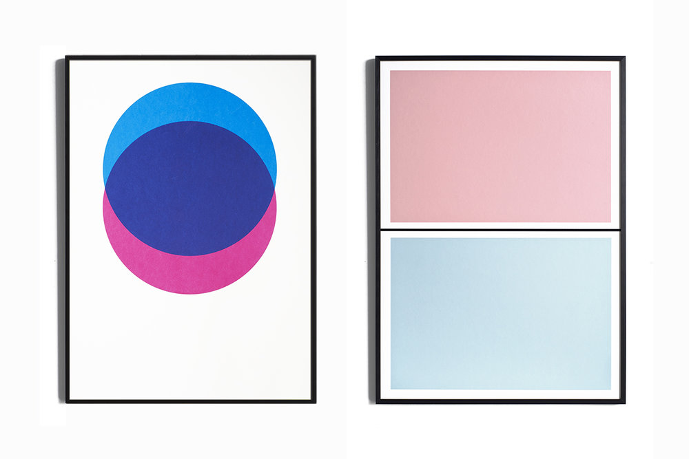 Lane Screen Print Circles Rose and Blue and Twin Tone Play Print Pink and Drift Blue
