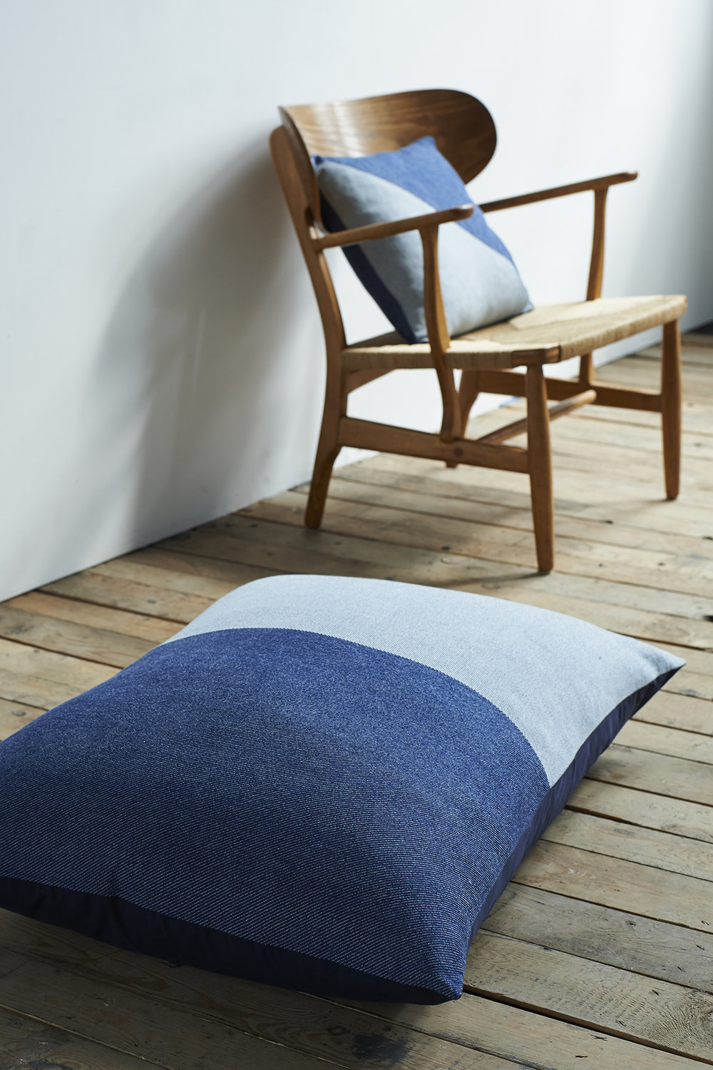 'Lane x London Cloth' Cotton Floor Cushion and Cotton Cushion - Triangle Context LR.jpg