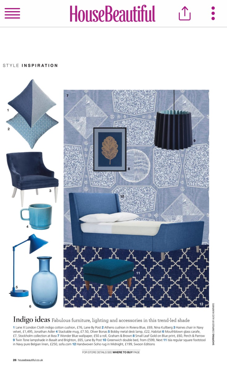 House Beautiful, Indigo Cotton Cushion and Basalt & Brighton Twin Tone Lampshade, June 2017