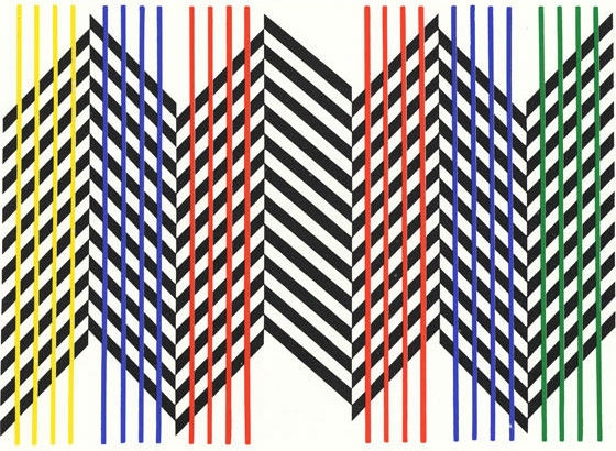 "Doble animación de un plano, Carlos Cruz-Diez. Caracas, Venezuela, 1959. 85 x 122 cm (33 15/32 x 48 1/32"").  Cruz-Diez Foundation, Museum of Fine Arts, Houston, USA ."
