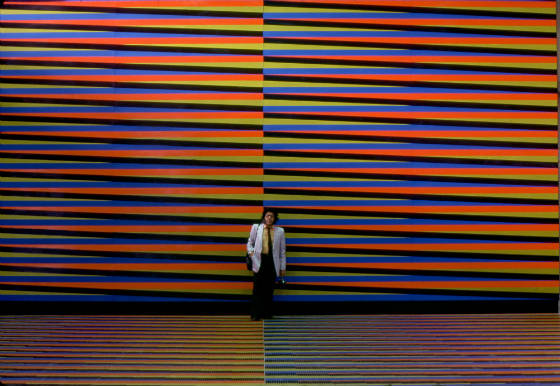Architectural Integrations: 1970 - 1979: 'Pisos y muros de color aditivo en el hall central del aeropuerto', Carlos Cruz-Diez. Simón Bolívar International Airport, Maiquetía, Venezuela. Dim. 270 x 9 m (295 1/4 x 9 27/32 yd). Credit:  © Atelier Cruz-Diez Paris .