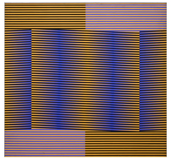 "'Induction Chromatique: 1970 - 1979: 1975. Induction Chromatique 153', Carlos Cruz-Diez, Paris, France, 1975. 120 x 120 cm (47 1/4 x 47 1/4"").  Cruz-Diez Foundation, Museum of Fine Arts, Houston, USA."