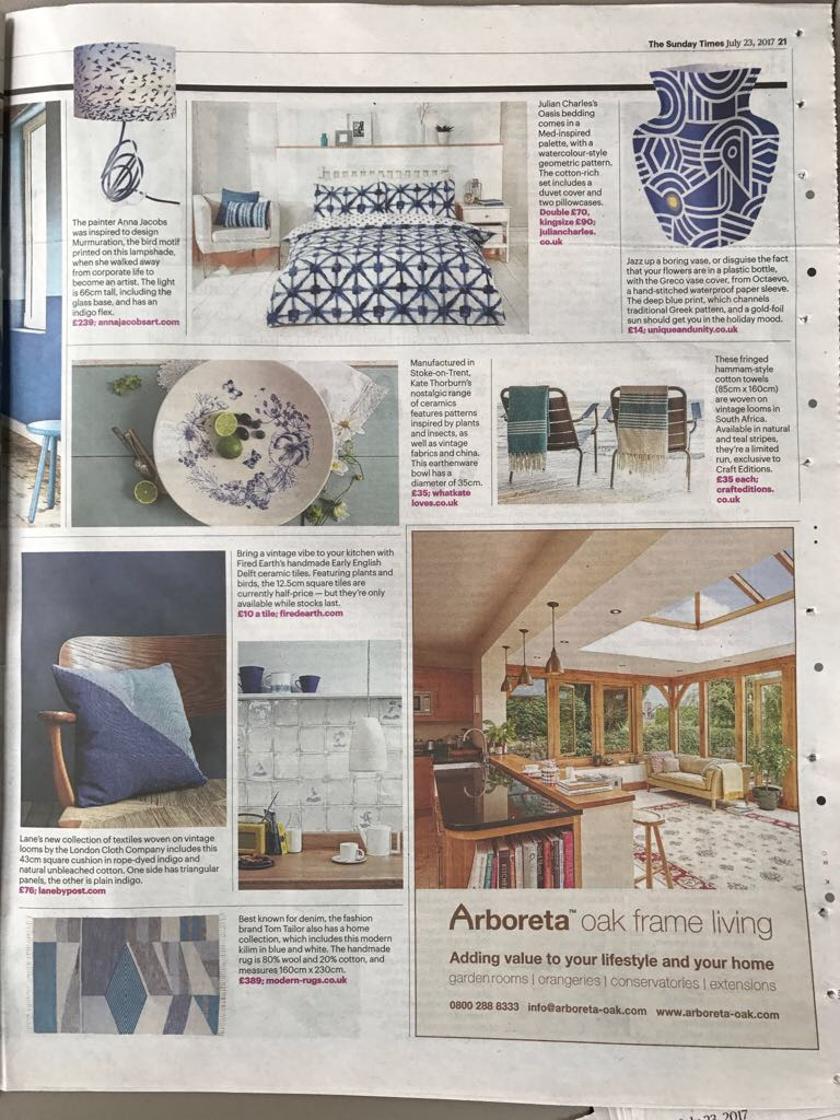Sunday Times Home, Indigo Cotton Cushion, July 2017