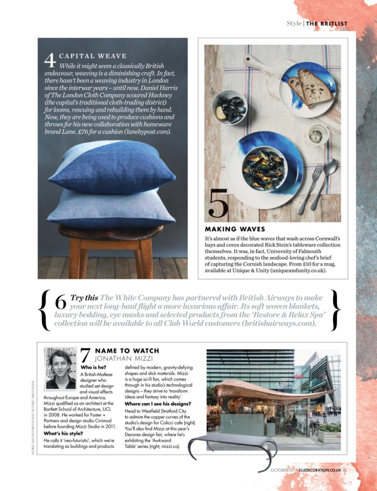 Elle Decoration, Indigo Cotton Cushions, October 2017