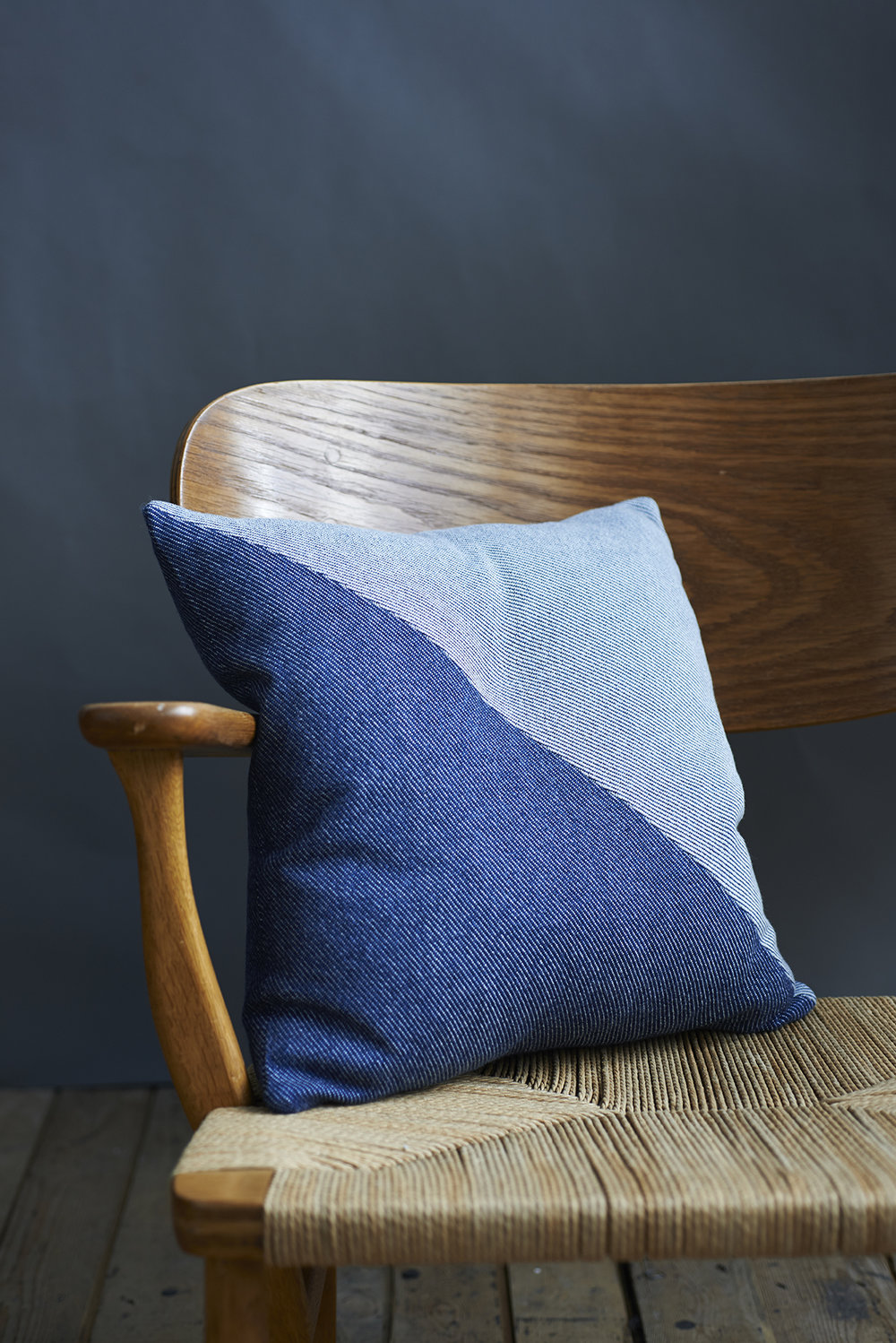 'Lane x London Cloth' Cotton Cushion - Triangle Context Front LR.jpg