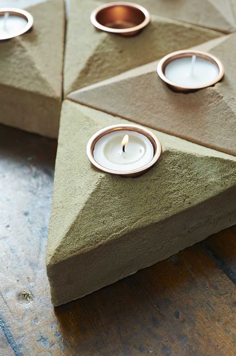 Lane Sand Cast Brick Tea Light Holder