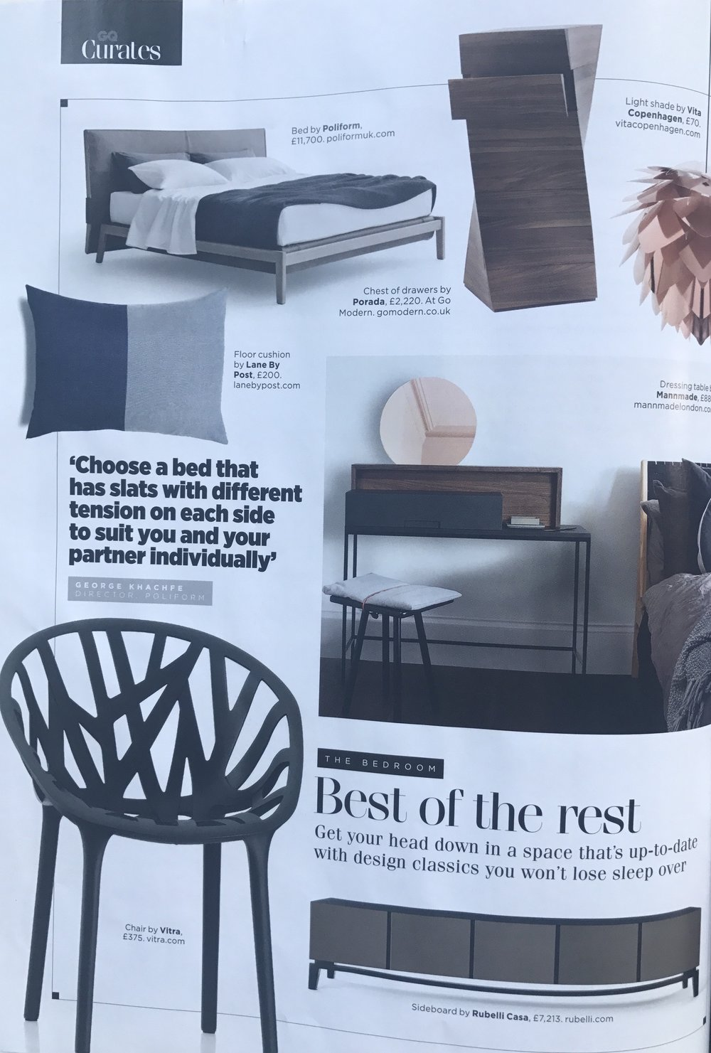 GQ, Indigo Cotton Floor Cushion, October 2017