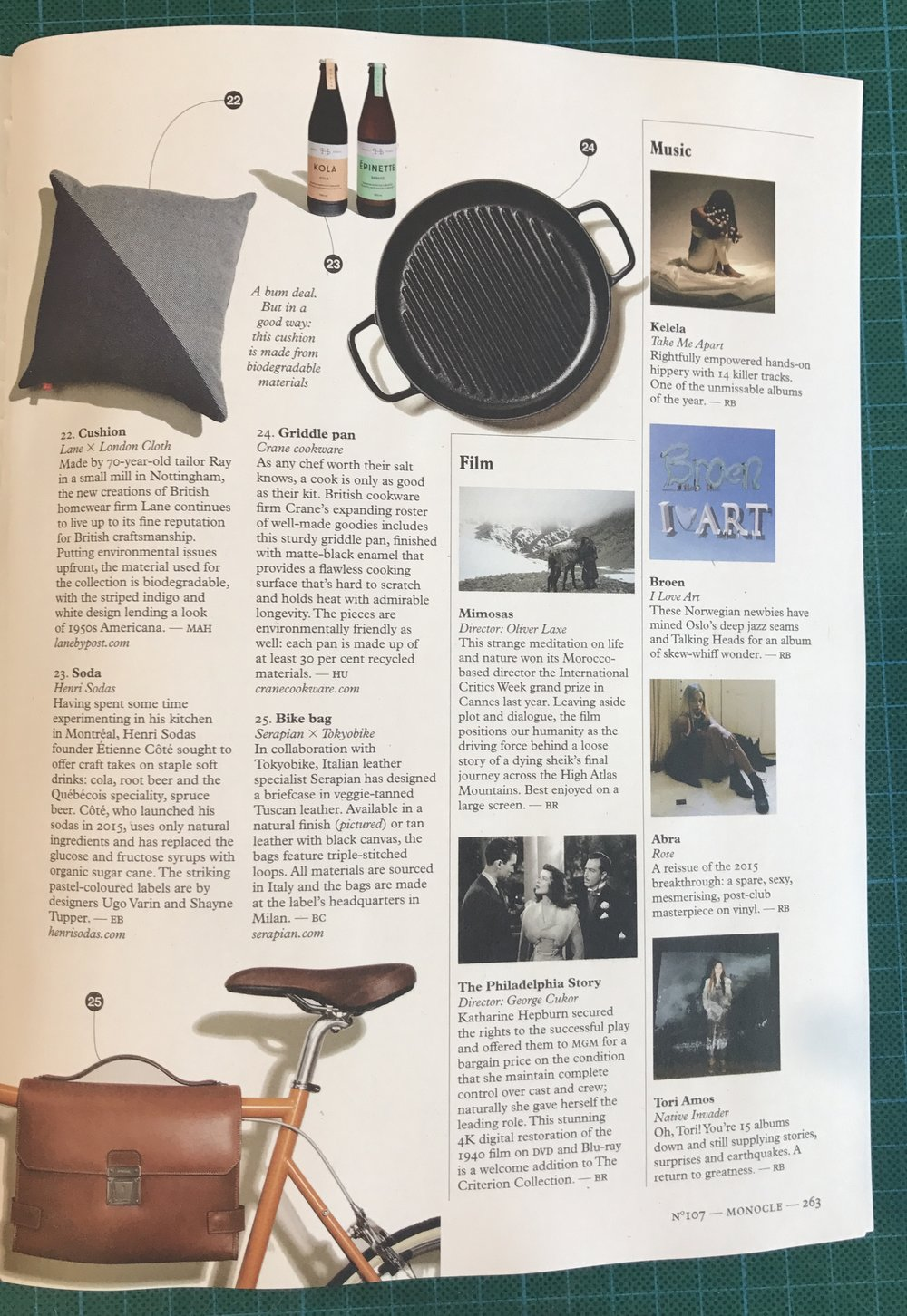 Monocle, Indigo Cotton Triangle Cushion, October 2017