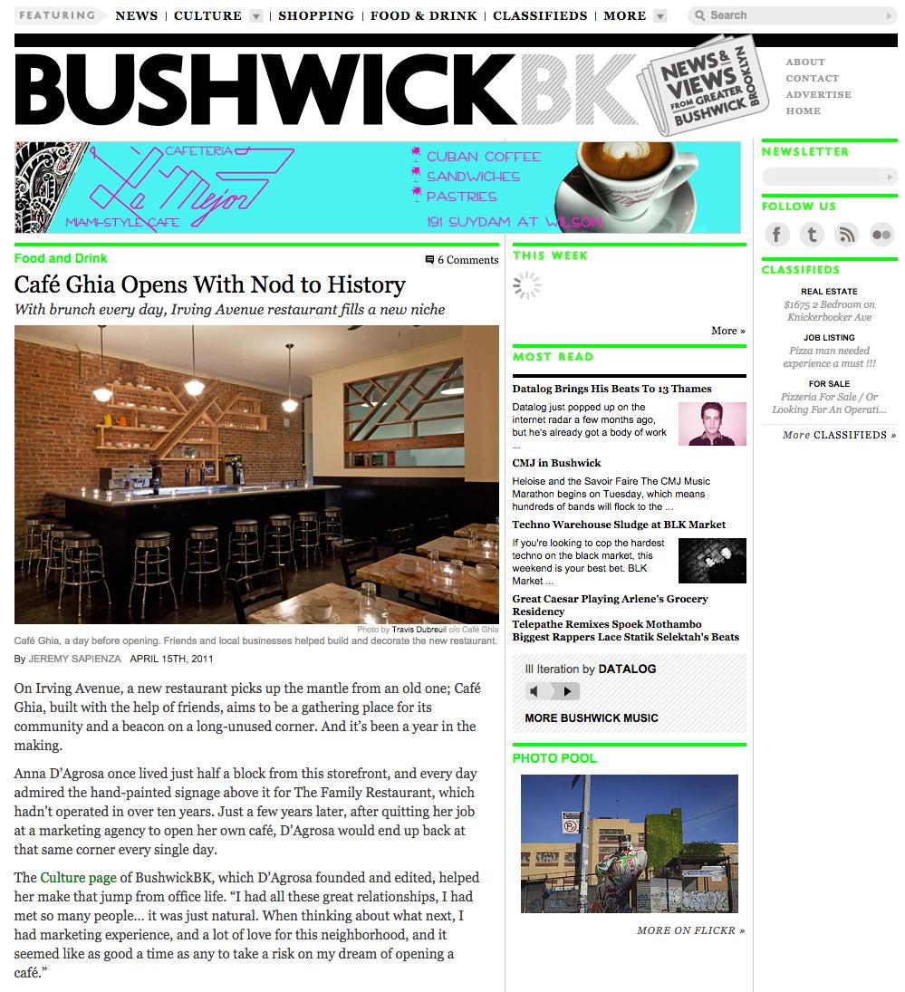BushwickBK: Cafe Ghia Opens with a Nod toHistory   April 15, 2011