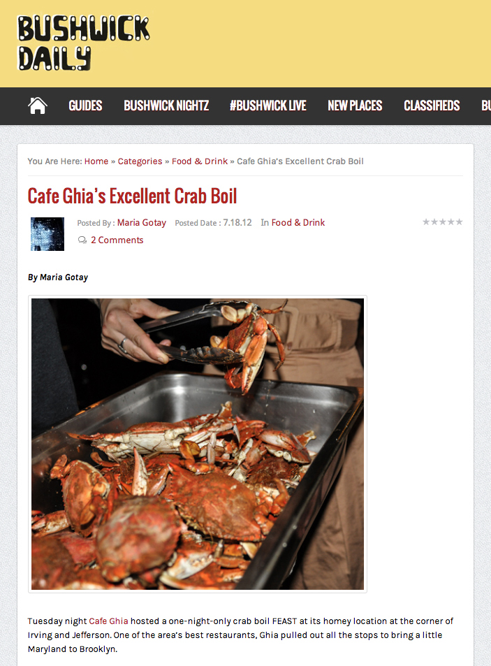 Bushwick Daily: Ghia's Excellent CrabBoil   July 18, 2012
