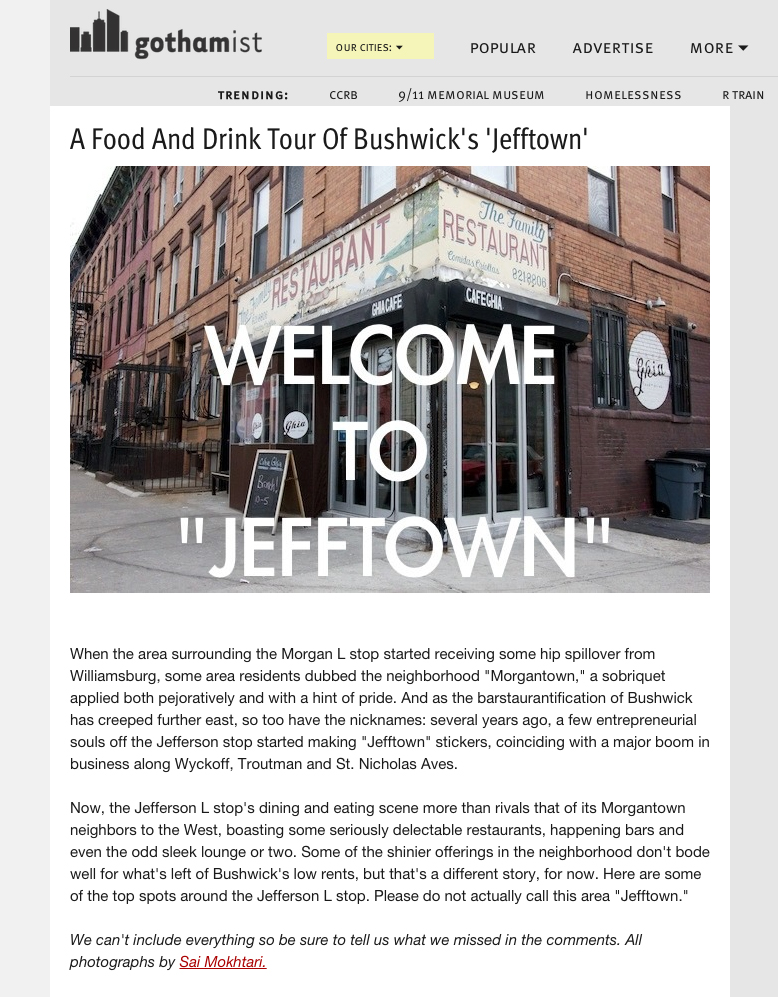 """Gothamist: A Food and Drink Tour of Bushwick's""""Jefftown""""   May 2, 2014"""